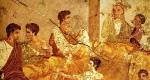 Fresco van een banket, gevonden in Pompeii. Nu in het Archeologisich museum in Napels